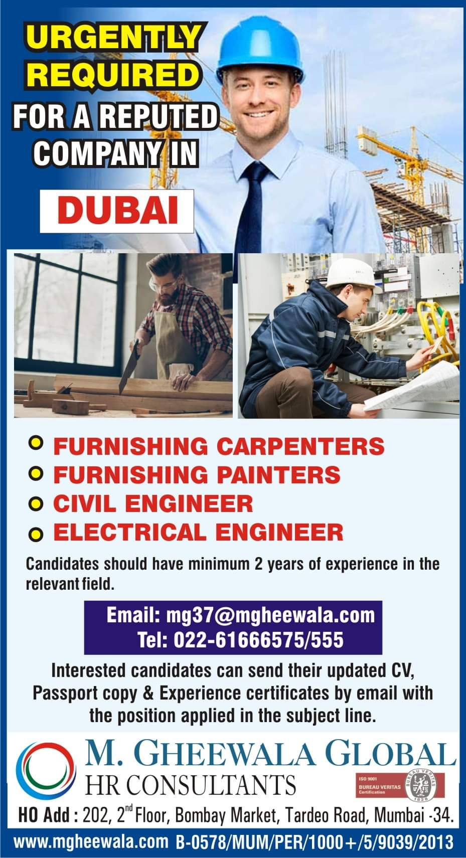 URGENTLY REQUIRED FOR A COMPANY IN  DUBAI