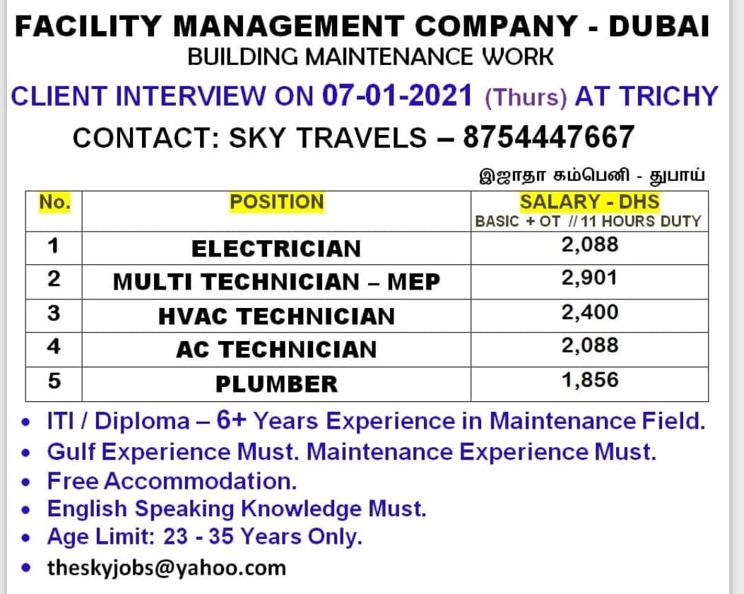 FACILITY MANAGEMENT COMPANY – DUBAI  BUILDING MAINTENANCE WORK