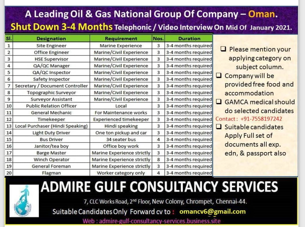 REQUIREMENT FOR A LEADING OIL AND GAS NATIONAL GROUP OF COMPANY IN OMAN