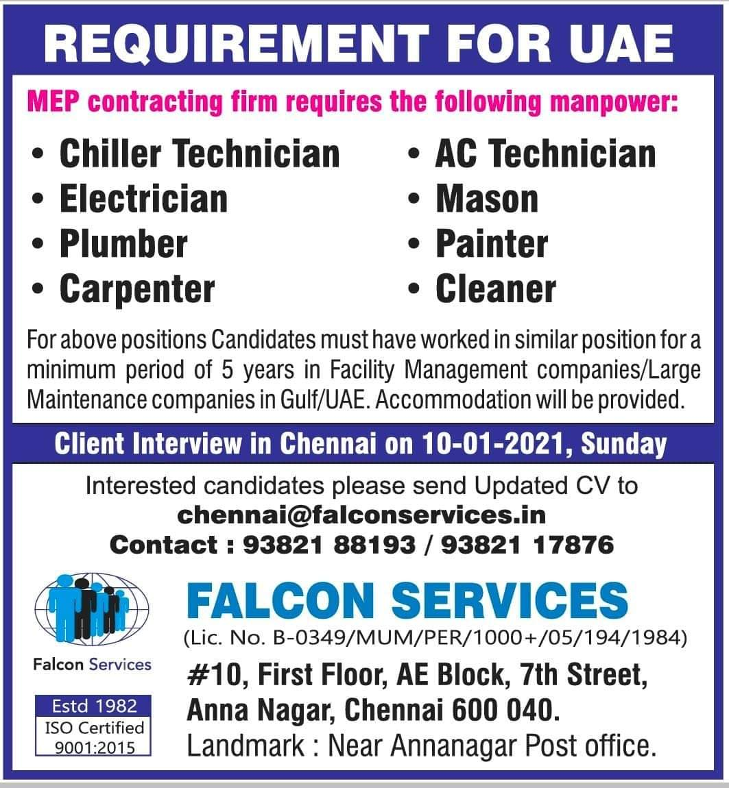 REQUIREMENT FOR UAE MEP contracting firm