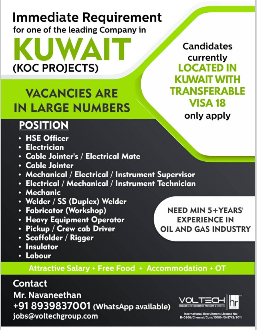 Immediate Requirement for one of the leading Company in KUWAIT (KOC PROJECTS)