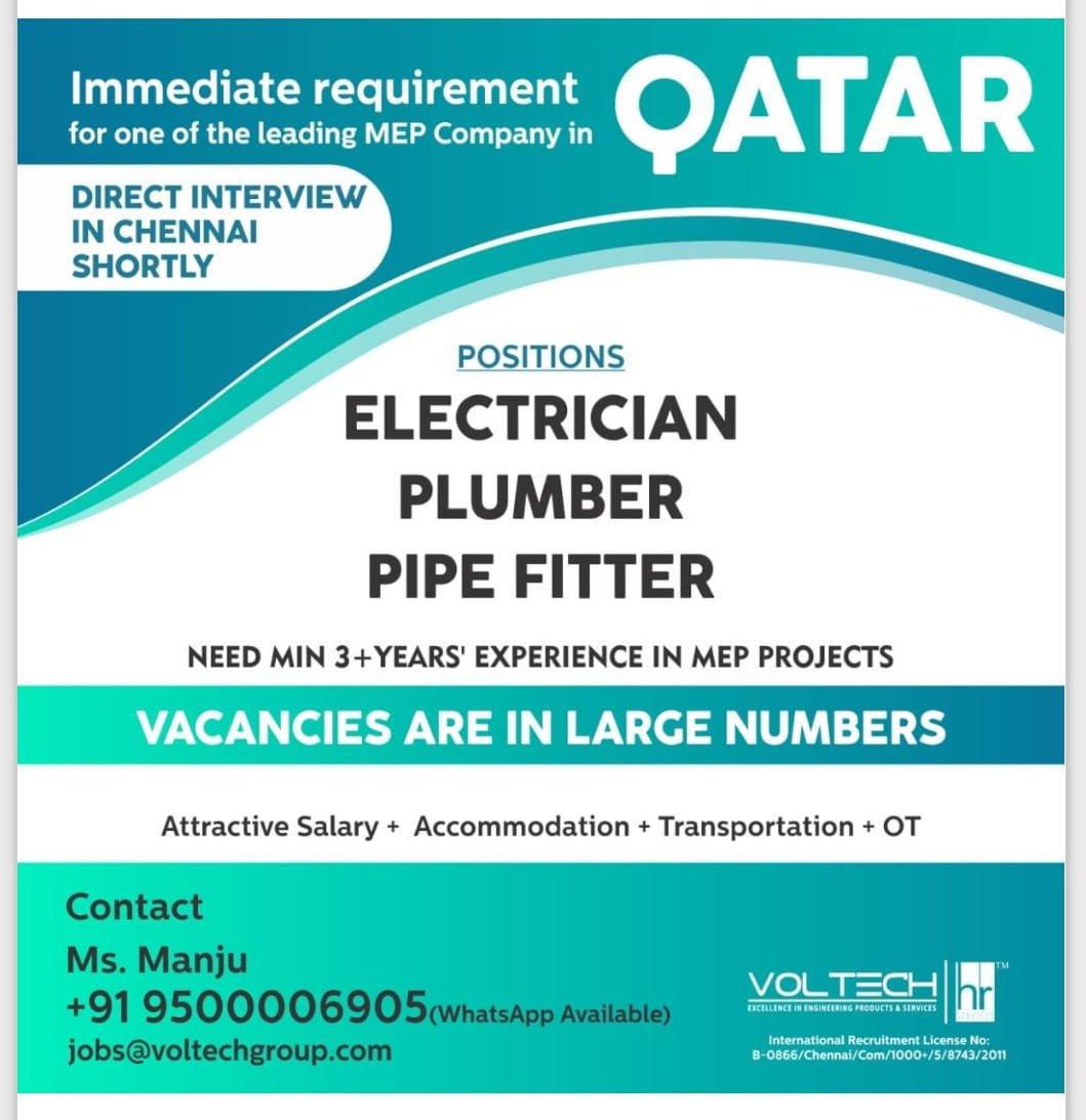 IMMEDIATE REQUIREMENT FOR MEP CO. QATAR