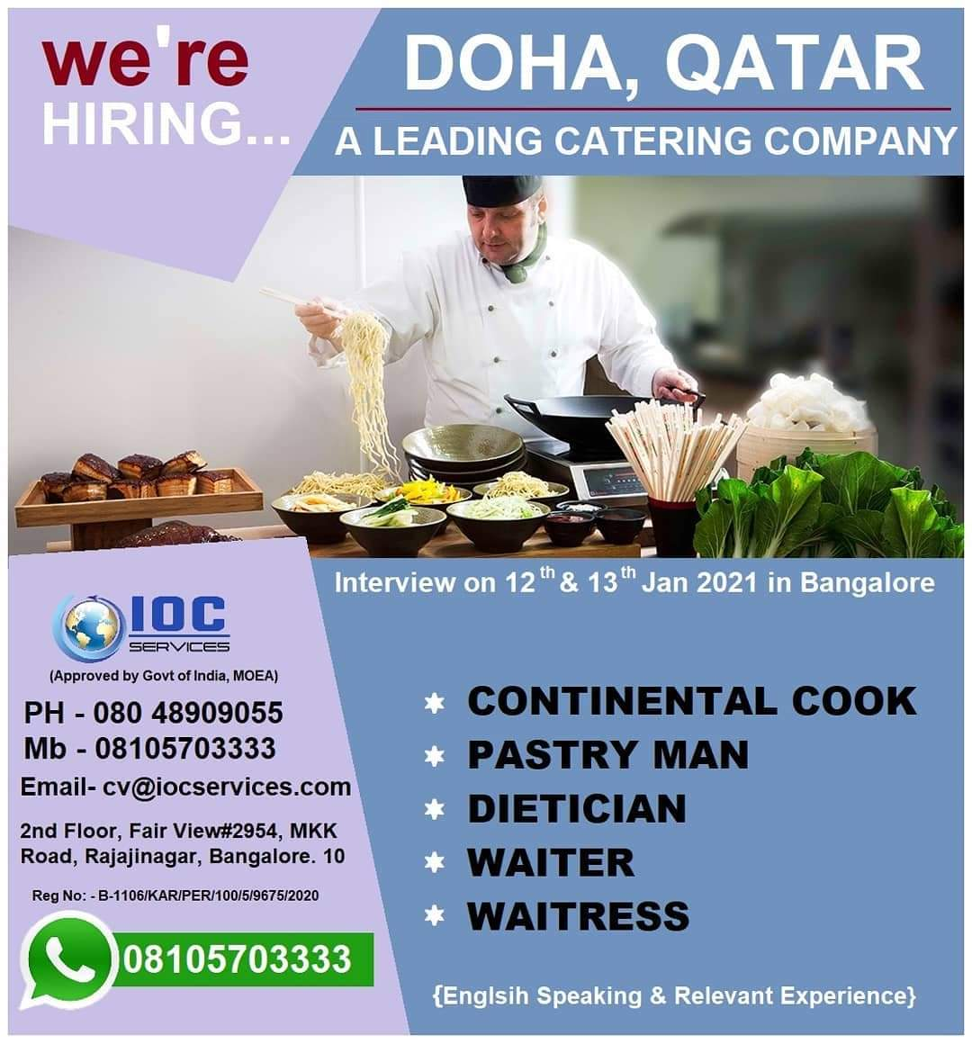 URGENTLY REQUIRED FOR A LEADING CATERING COMPANY