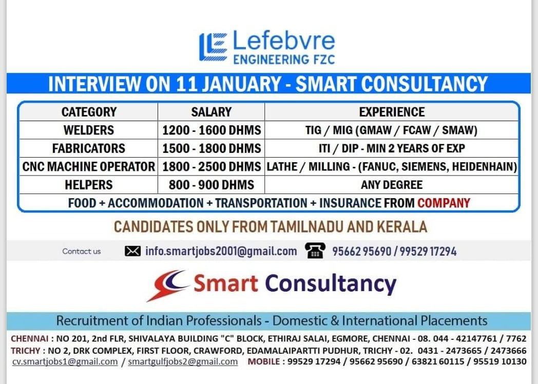 WALK-IN INTERVIEW AT CHENNAI, TRICHY FOR UAE