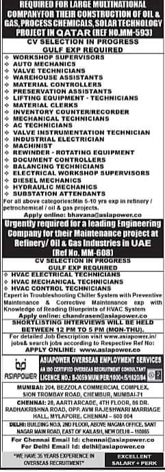 REQUIRED FOR MULTINATIONAL COMPANY FOR THEIR CONSTRUCTION OF OIL & GAS, PROCESS CHEMICALS, SOLAR TECHNOLOGY PROJECT IN QATAR