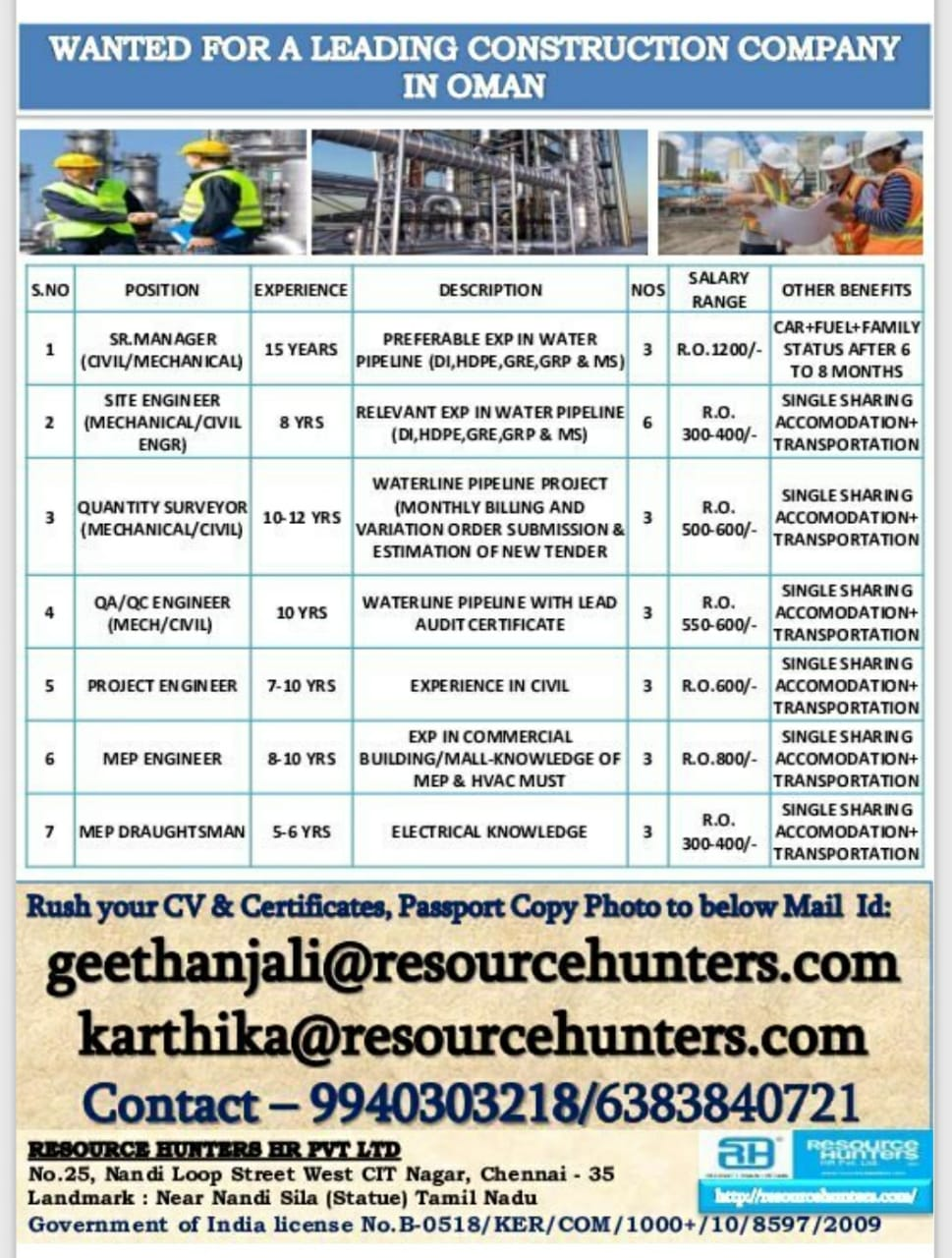 WANTED FOR A LEADING CONSTRUCTION COMPANY IN OMAN