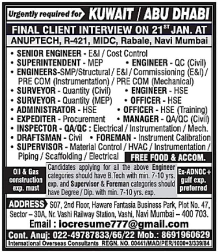 URGENTLY REQUIRED FOR  KUWAIT ABU DHABI