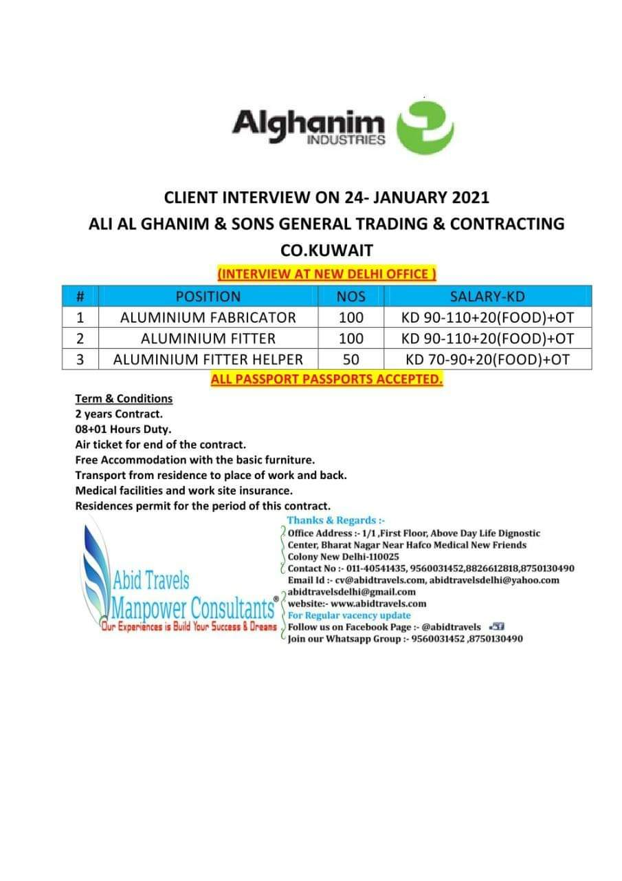 URGENTLY REQUIRED FOR ALI AL GHANIM & SONS GENERAL TRADING & CONTRACTING CO-KUWAIT