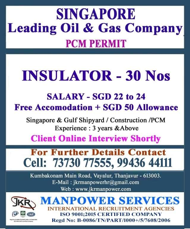 Required for Leading Oil & Gas COMPANY-SINGAPORE
