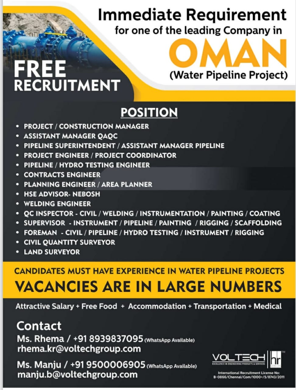 Immediate Requirement for one of the Company in OMAN  (Water Pipeline Project)
