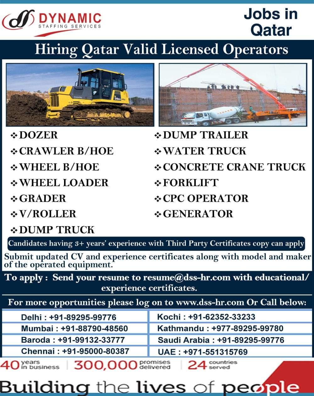 Hiring Valid Licensed OPERATORS -QATAR