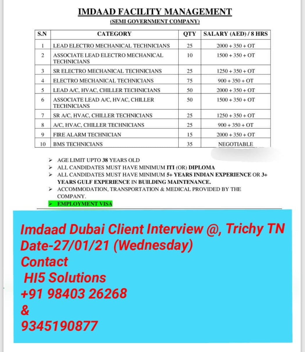 URGENTLY REQUIRED FOR IMDAAD FACILITY MANAGEMENT-DUBAI
