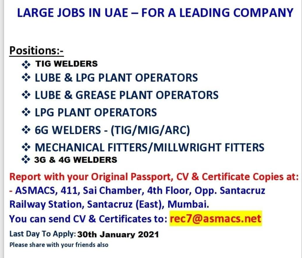 LARGE JOBS IN UAE – FOR A LEADING COMPANY