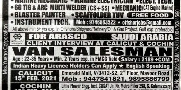 REQUIRED FOR OFFSHORE / SHIPYARD PROJECT-SAUDI ARABIA