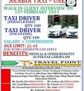 URGENTLY REQUIRED FOR ARABIA TAXI – UAE