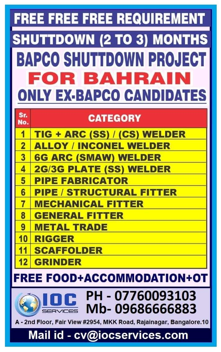 REQUIRED FOR BAPCO SHUTTDOWN PROJECT-BAHRAIN