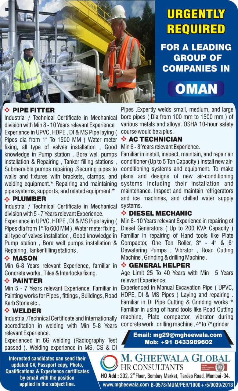 URGENTLY REQUIRED FOR A LEADING GROUP OF COMPANIES-OMAN