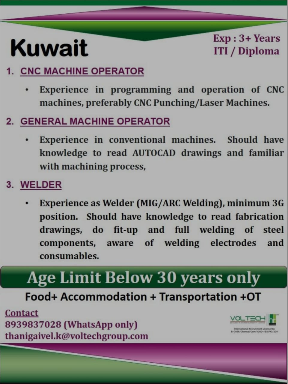 REQUIRED FOR A LEADING COMPANY-KUWAIT