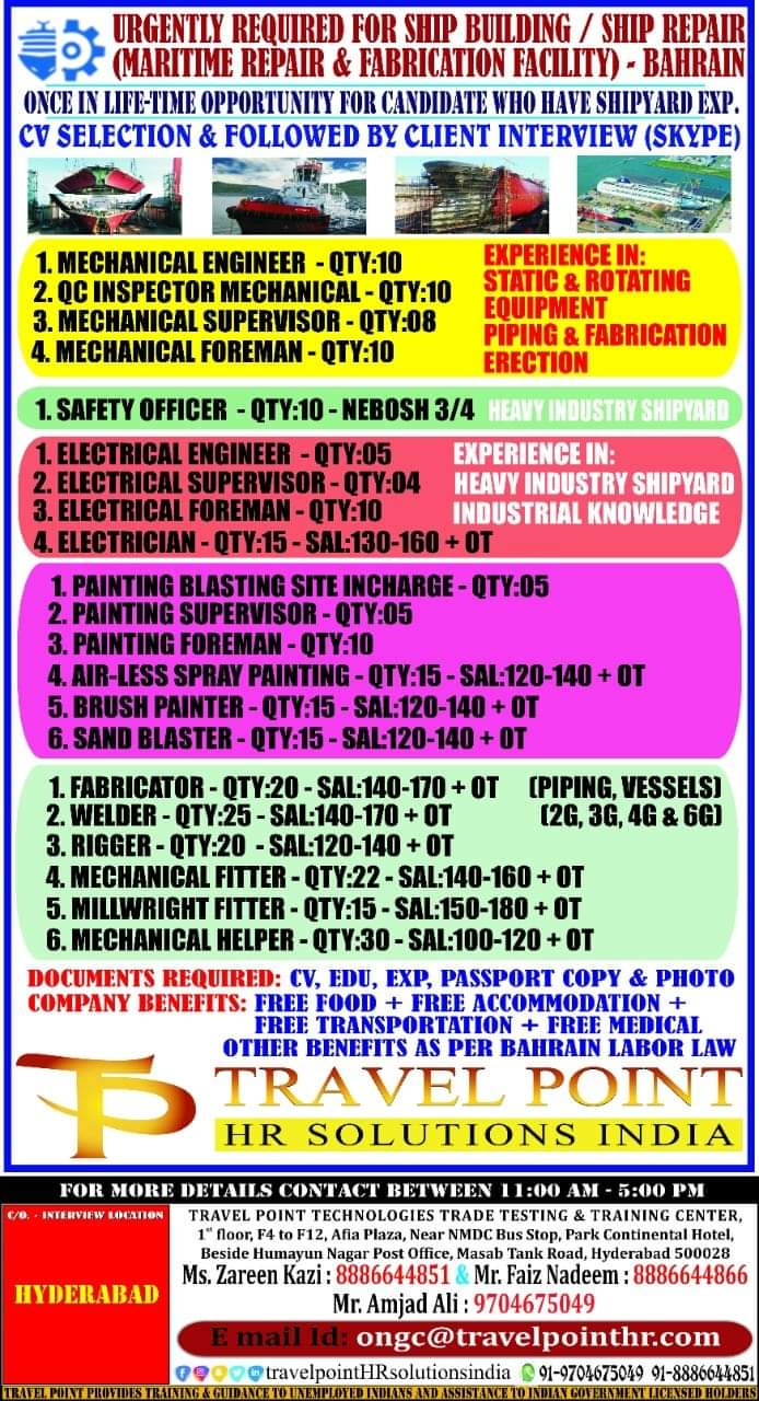 URGENTLY REQUIRED FOR SHIP BUILDING / SHIP REPAIR (MARITIME REPAIR & FABRICATION FACILITY) – BAHRAIN