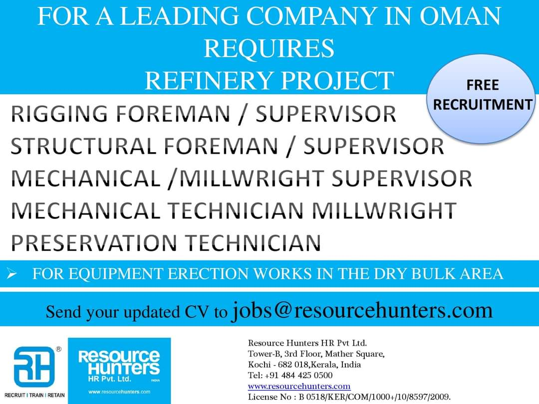 COMPANY IN OMAN REQUIRES REFINERY PROJECT