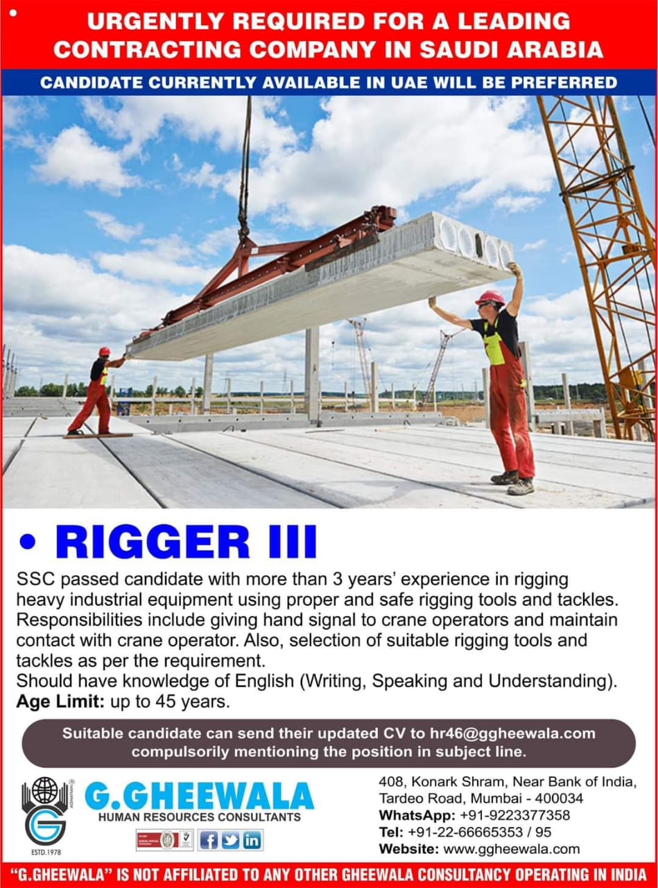 URGENTLY REQUIRED FOR A CONTRACTING COMPANY IN SAUDI ARABIA