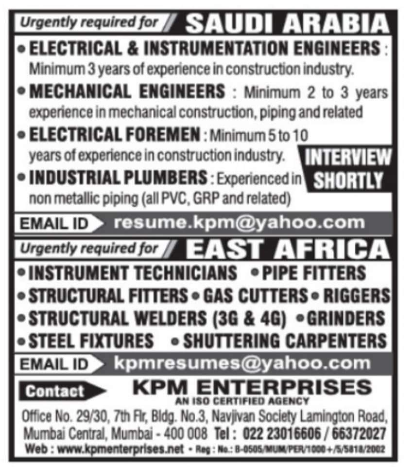 URGENTLY REQUIRED FOR A LEADING COMPANY-SAUDI ARABIA