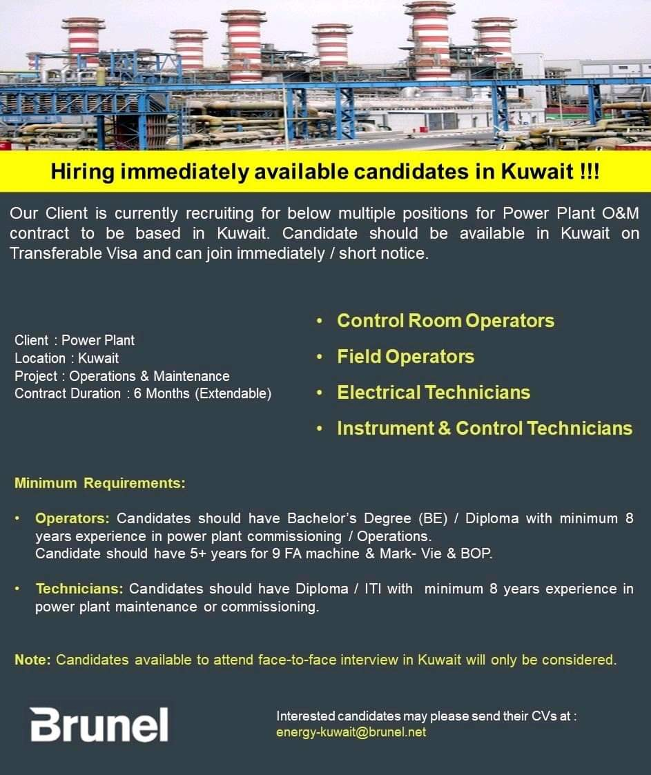 HIRING IMMEDIATELY AVAILABLE CANDIDATES IN KUWAIT