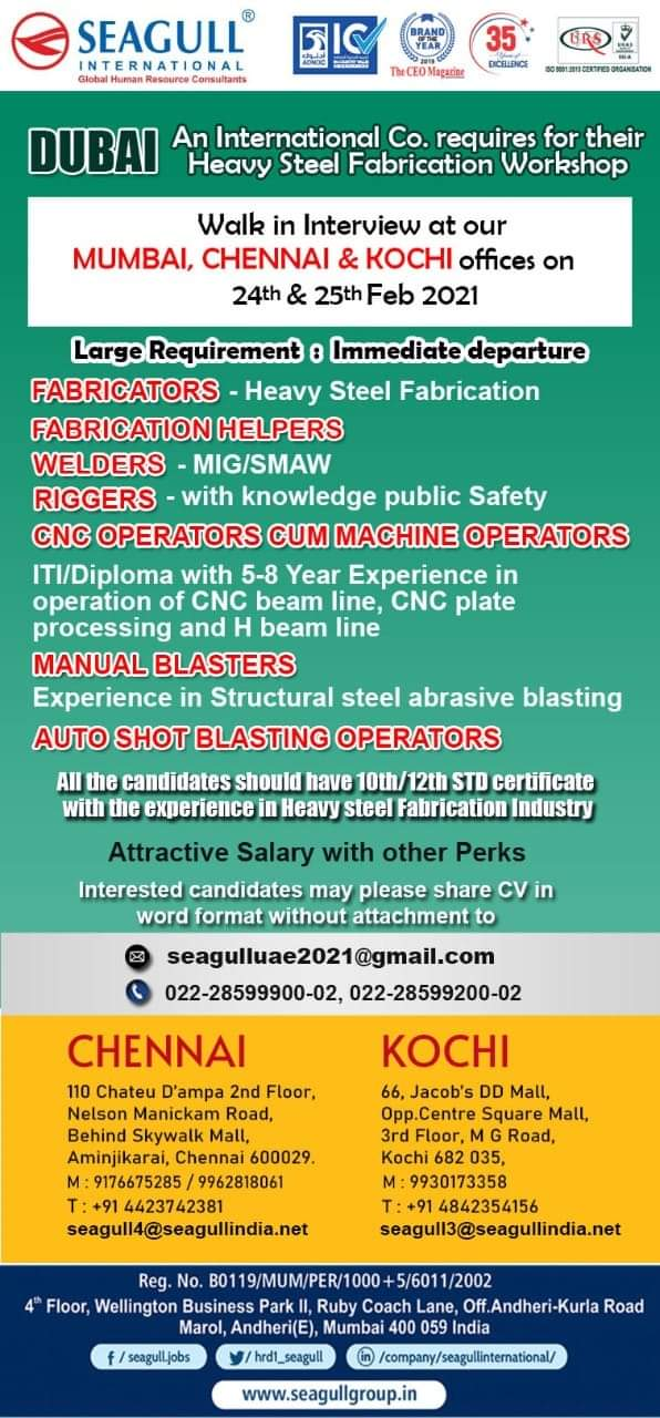 REQUIRED FOR An International Co. required for their Heavy Steel Fabrication Workshop-DUBAI