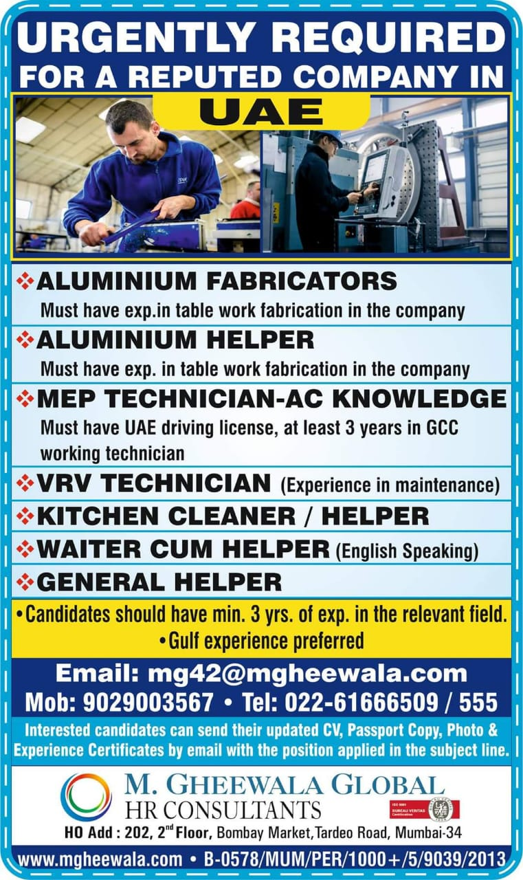 URGENTLY REQUIRED FOR A REPUTED COMPANY-UAE