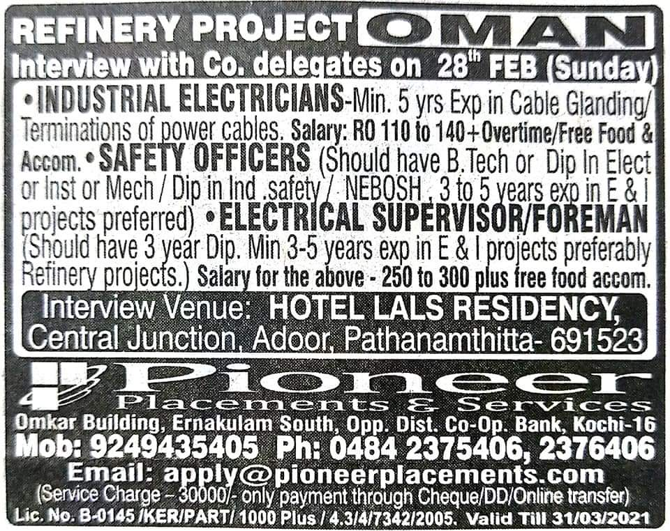 REQUIRED FOR A REFINERY PROJECT-OMAN