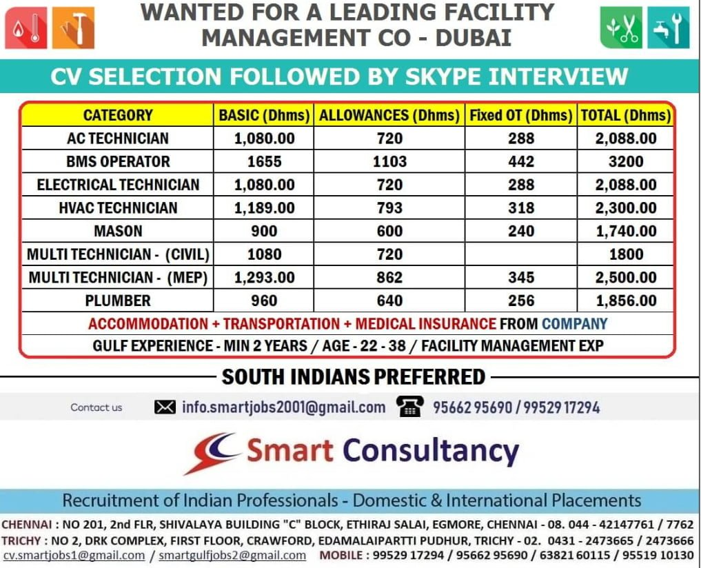 WANTED FOR A FACILITY MANAGEMENT CO – DUBAI