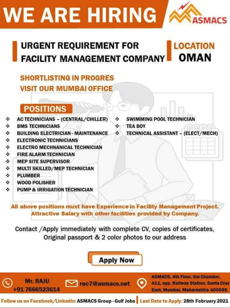 URGENT REQUIREMENT FOR FACILITY MANAGEMENT COMPANY OMAN