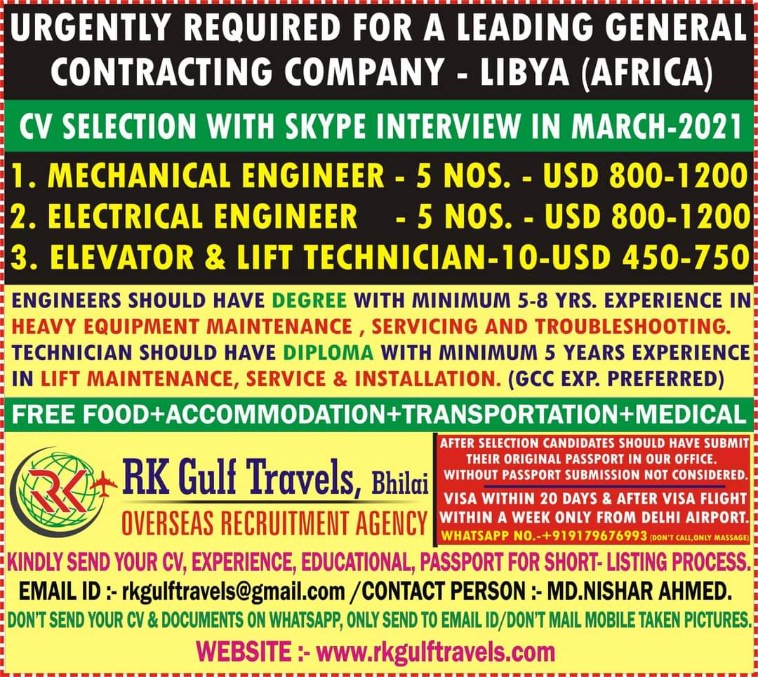 URGENTLY REQUIRED FOR A LEADING GENERAL CONTRACTING COMPANY-LIBYA