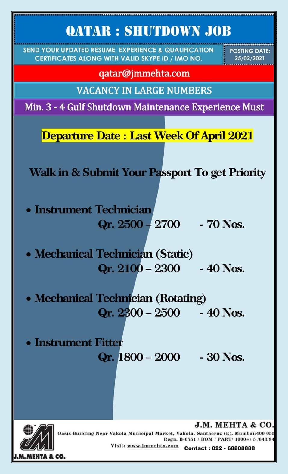 REQUIRED FOR A LEADING SHUTDOWN JOB-QATAR