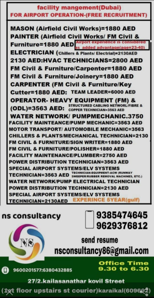 FACILITY MANGEMENT(DUBAI) FOR AIRPORT OPERATION