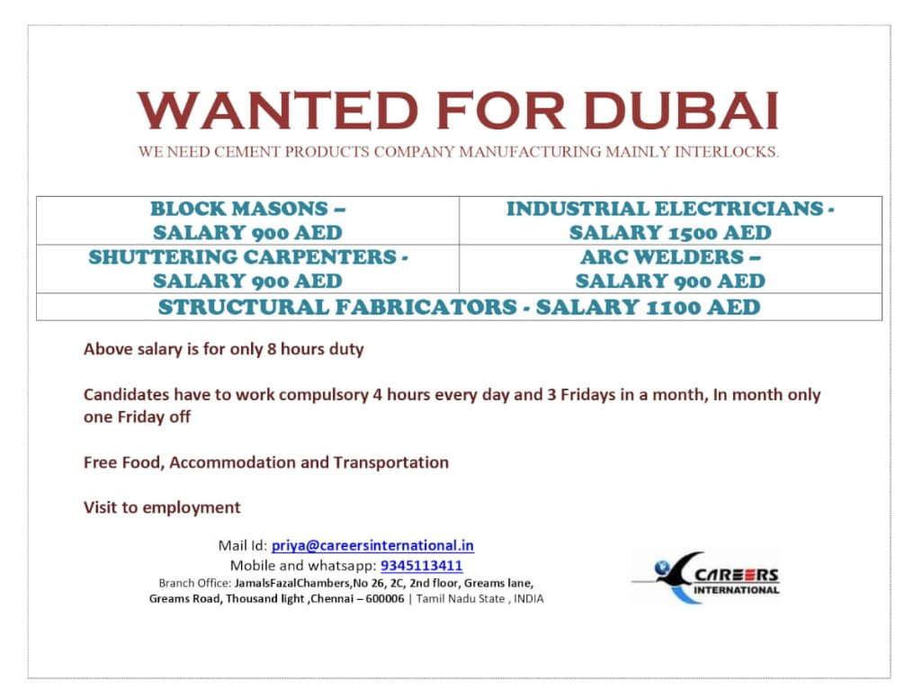REQUIRED FOR A LEADING CEMENT COMPANY-DUBAI