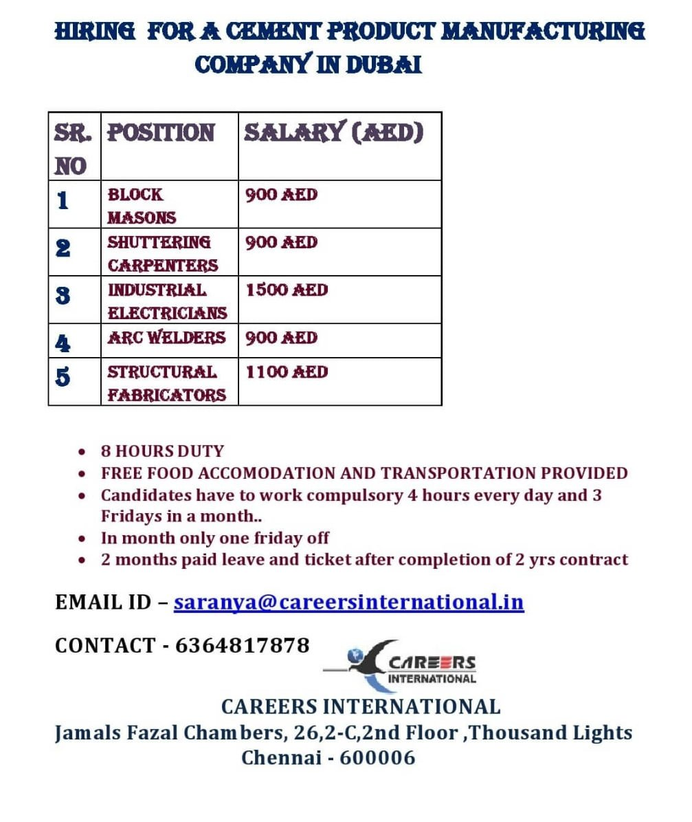 HIRING FOR A CEMENT PRODUCT MANUFACTURING COMPANY-DUBAI
