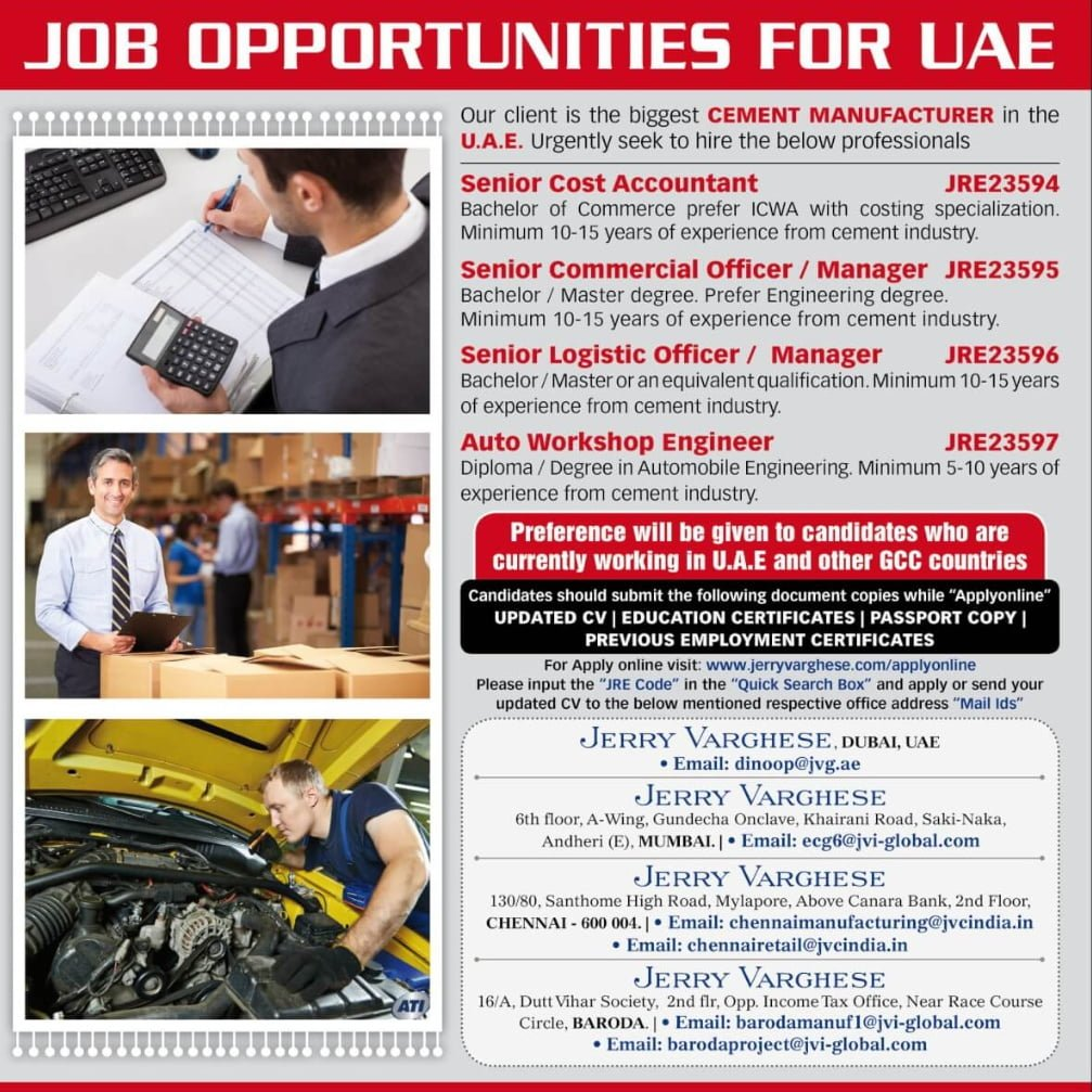 REQUIRED FOR A LEADING COMPANY-UAE