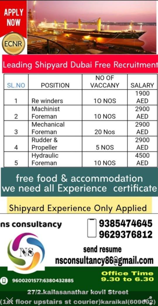 REQUIRED FOR A LEADING SHIPYARD COMPANY-DUBAI