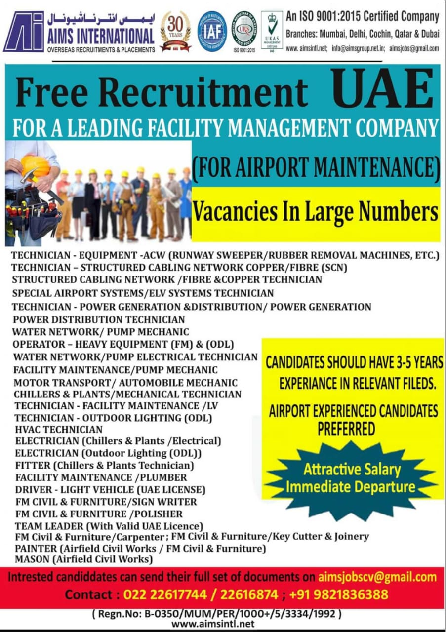 REQUIRED FOR A LEADING FACILITY MANAGEMENT CO-UAE