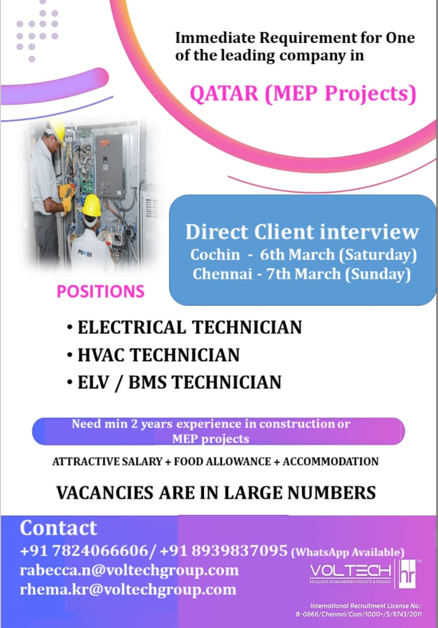 Immediately required for one of the leading company-Qatar