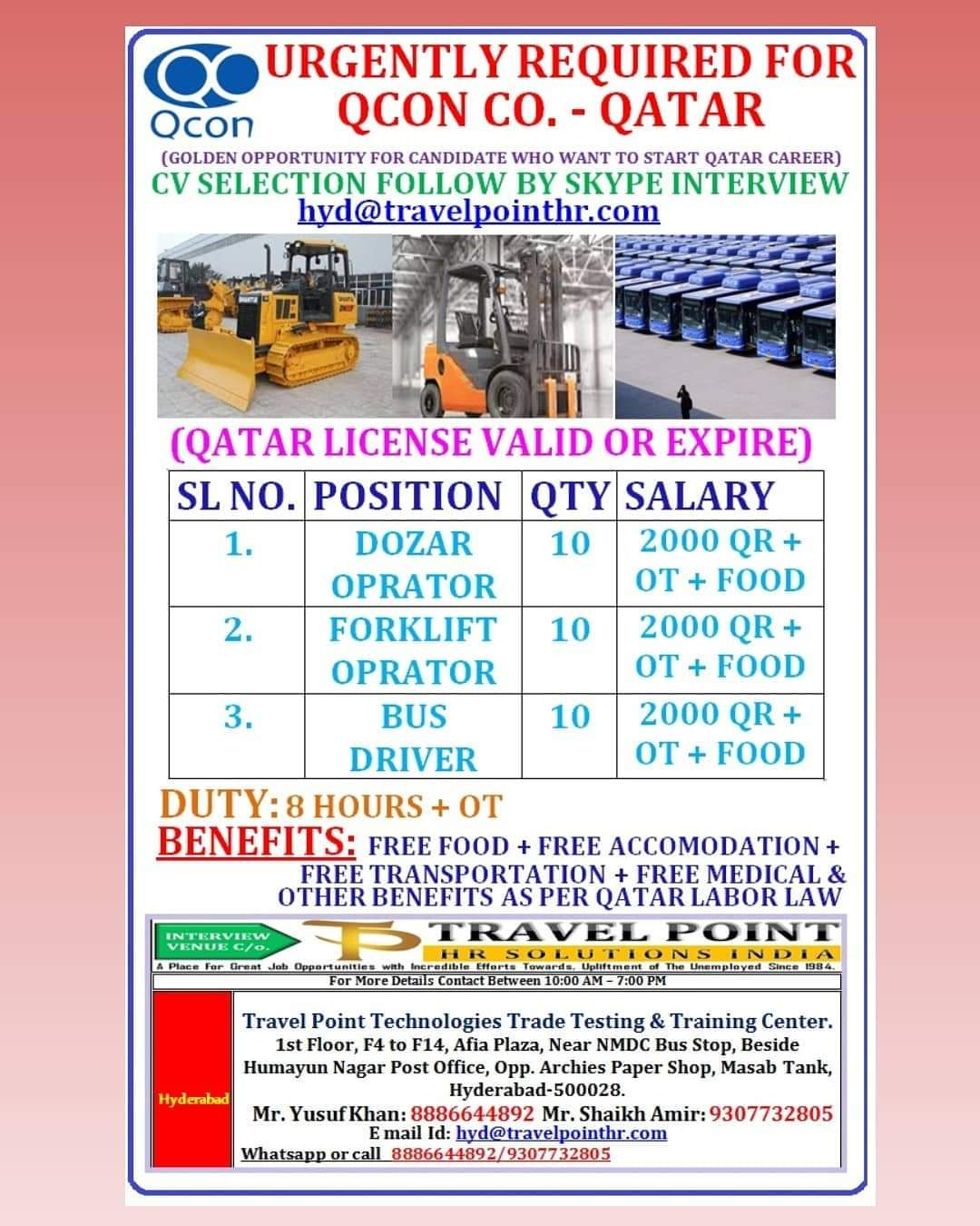 URGENTLY REQUIRED FOR QCON CO. – QATAR