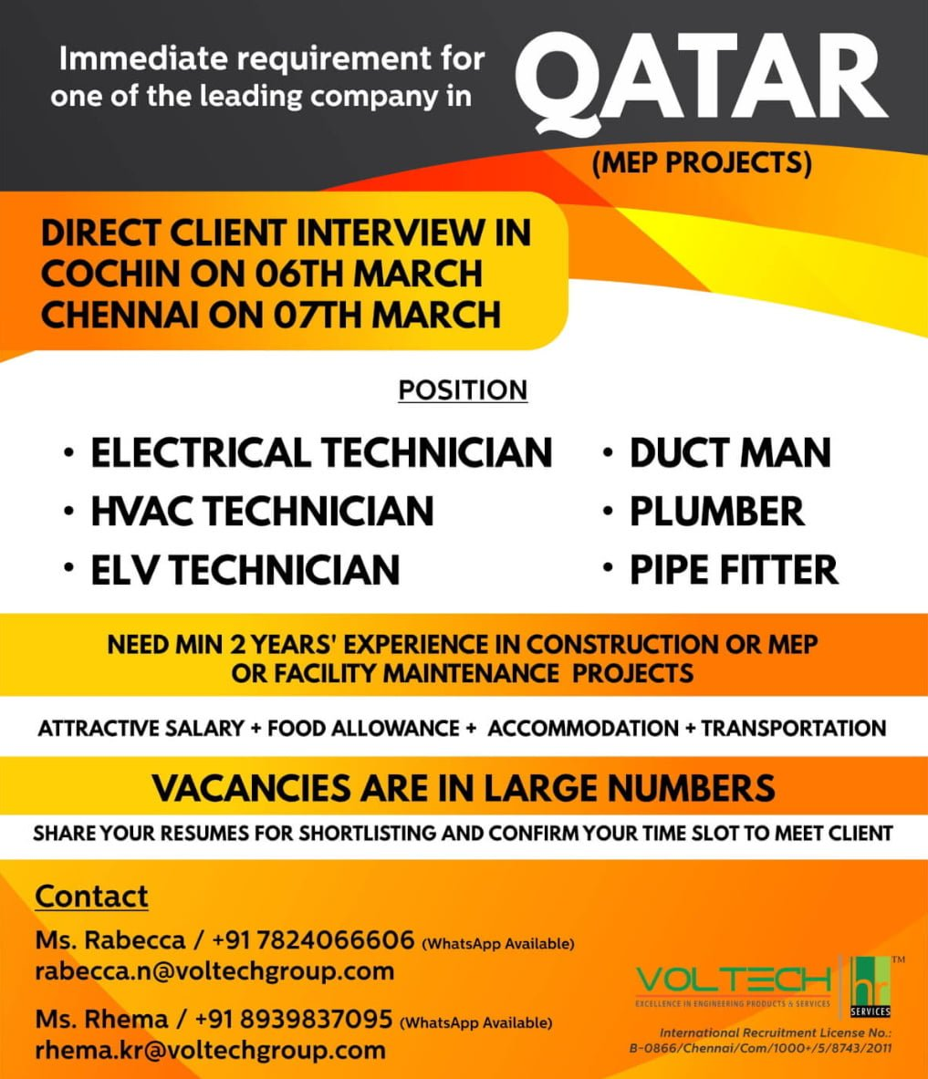 IMMEDIATE REQUIREMENT FOR A LEADING COMPANY-QATAR