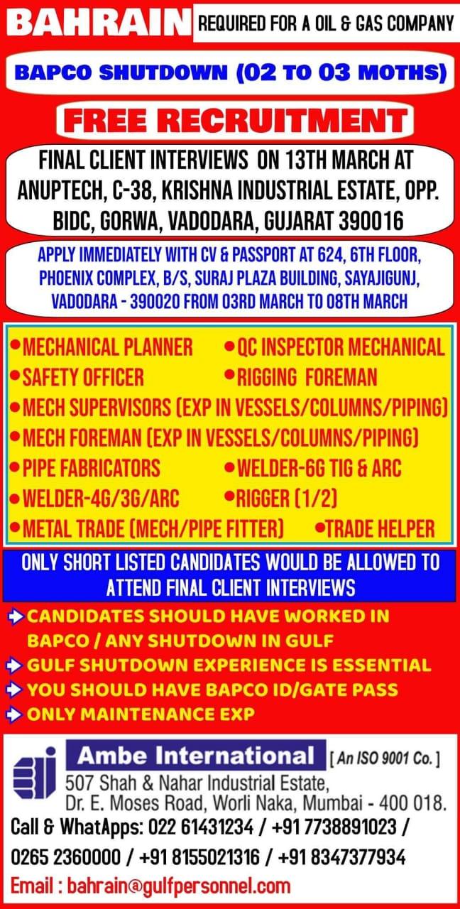 BAHRAIN REQUIRED FOR A OIL & GAS COMPANY BAPCO SHUTDOWN