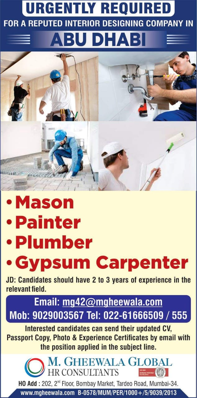 URGENTLY REQUIRED FOR A REPUTED INTERIOR DESIGNING COMPANY IN ABU DHABI