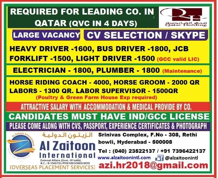 REQUIRED FOR LEADING CO. IN QATAR