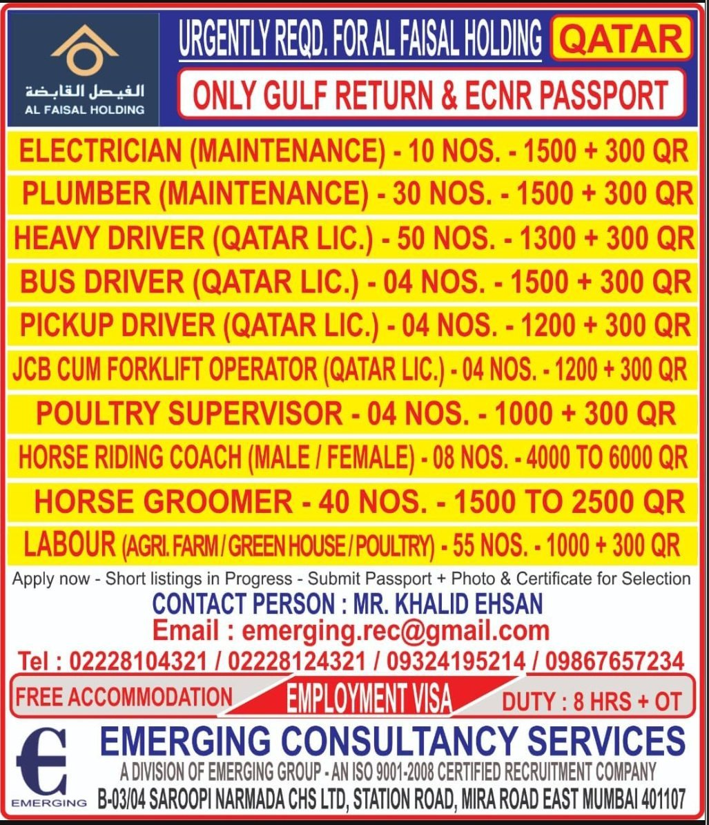 URGENTLY REQUIRED FOR AL FAISAL HOLDING-QATAR