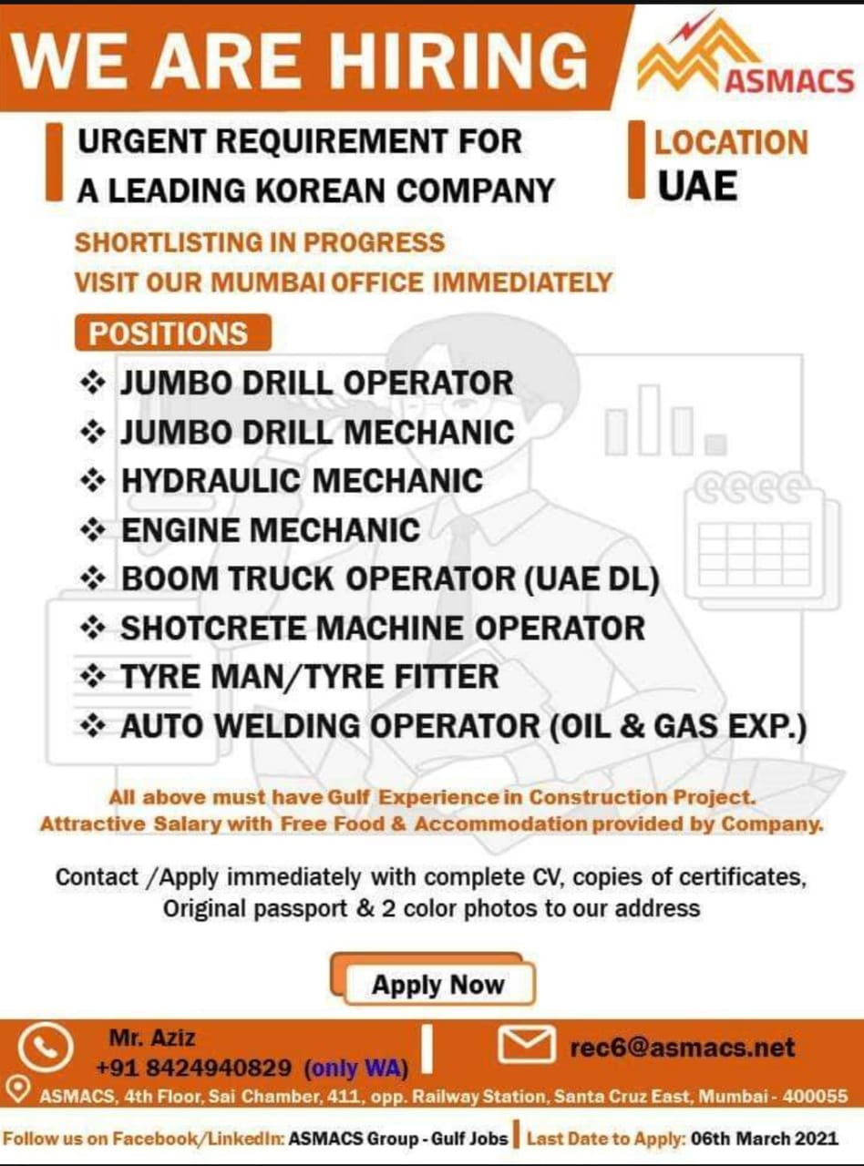 URGENT REQUIREMENT FOR A LEADING KOREAN COMPANY UAE