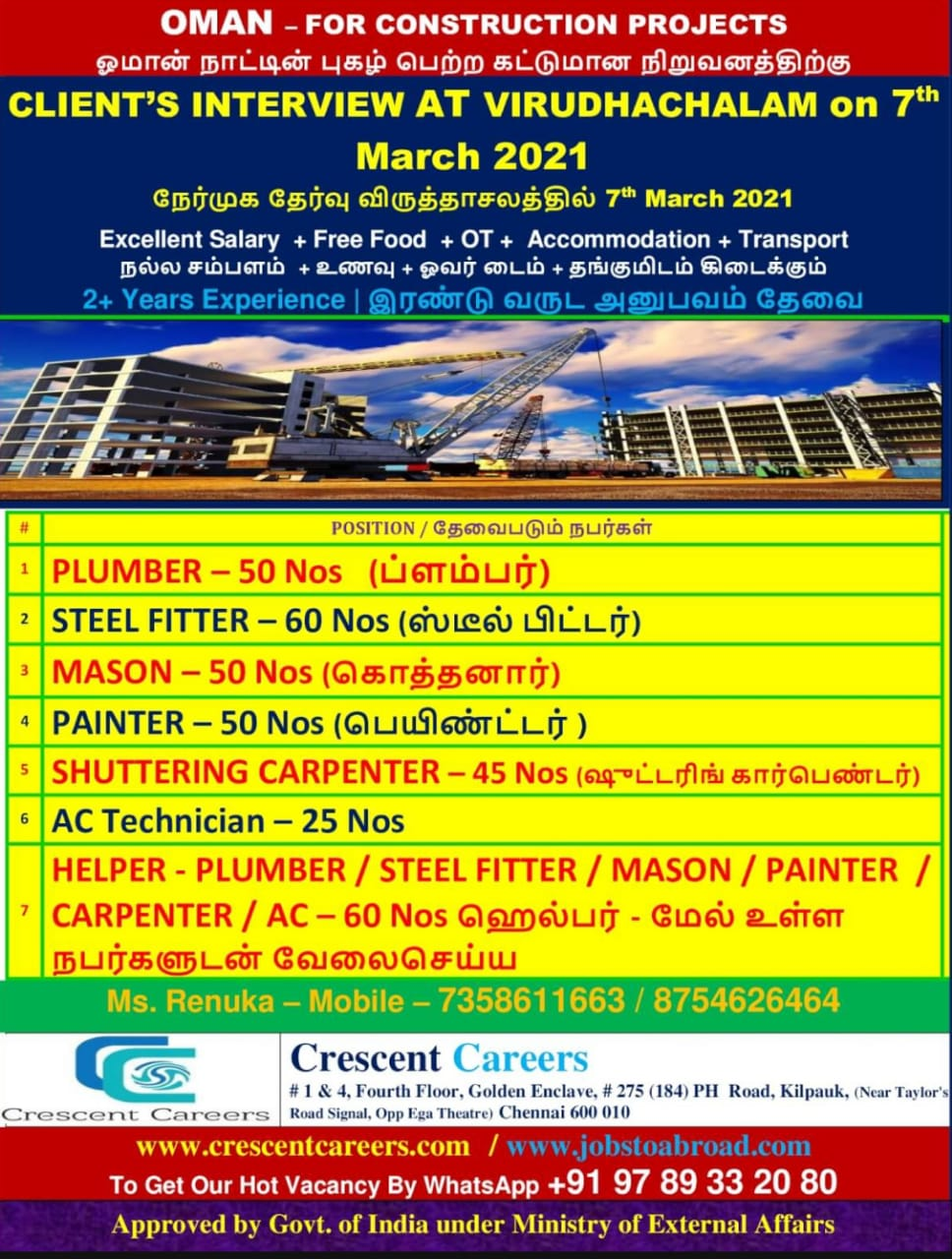 REQUIRED FOR A LEADING CONSTRUCTION PROJECTS-OMAN