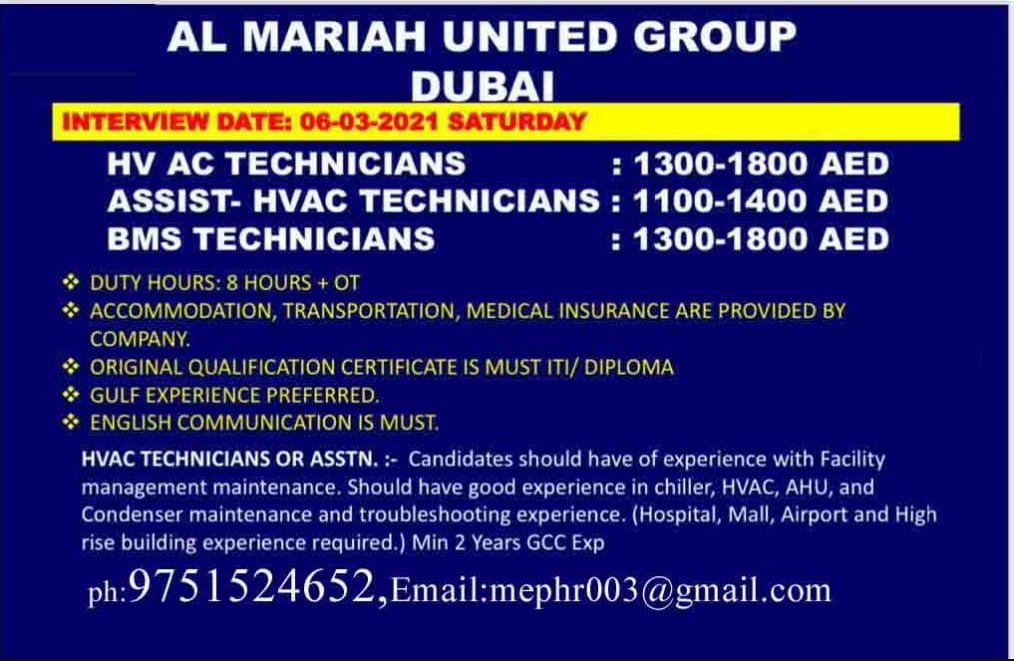 URGENTLY REQUIRED FOR AL MARIAH UNITED GROUP-DUBAI